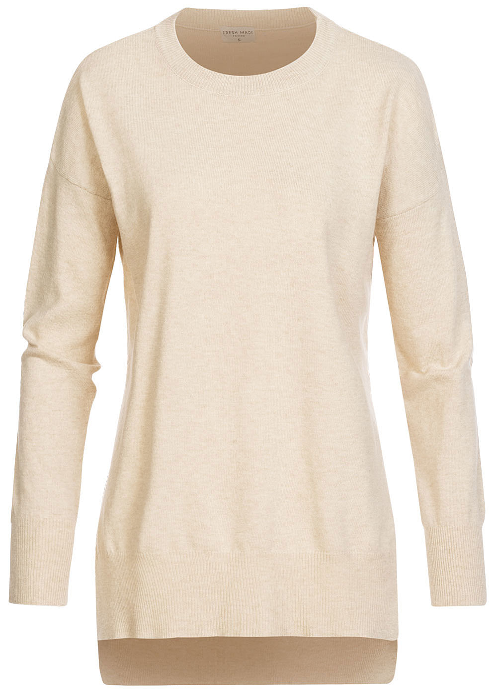 Fresh Made Damen Oversized Melange Sweater Schlitze seitl nude beige melange - Art.-Nr.: 19115267