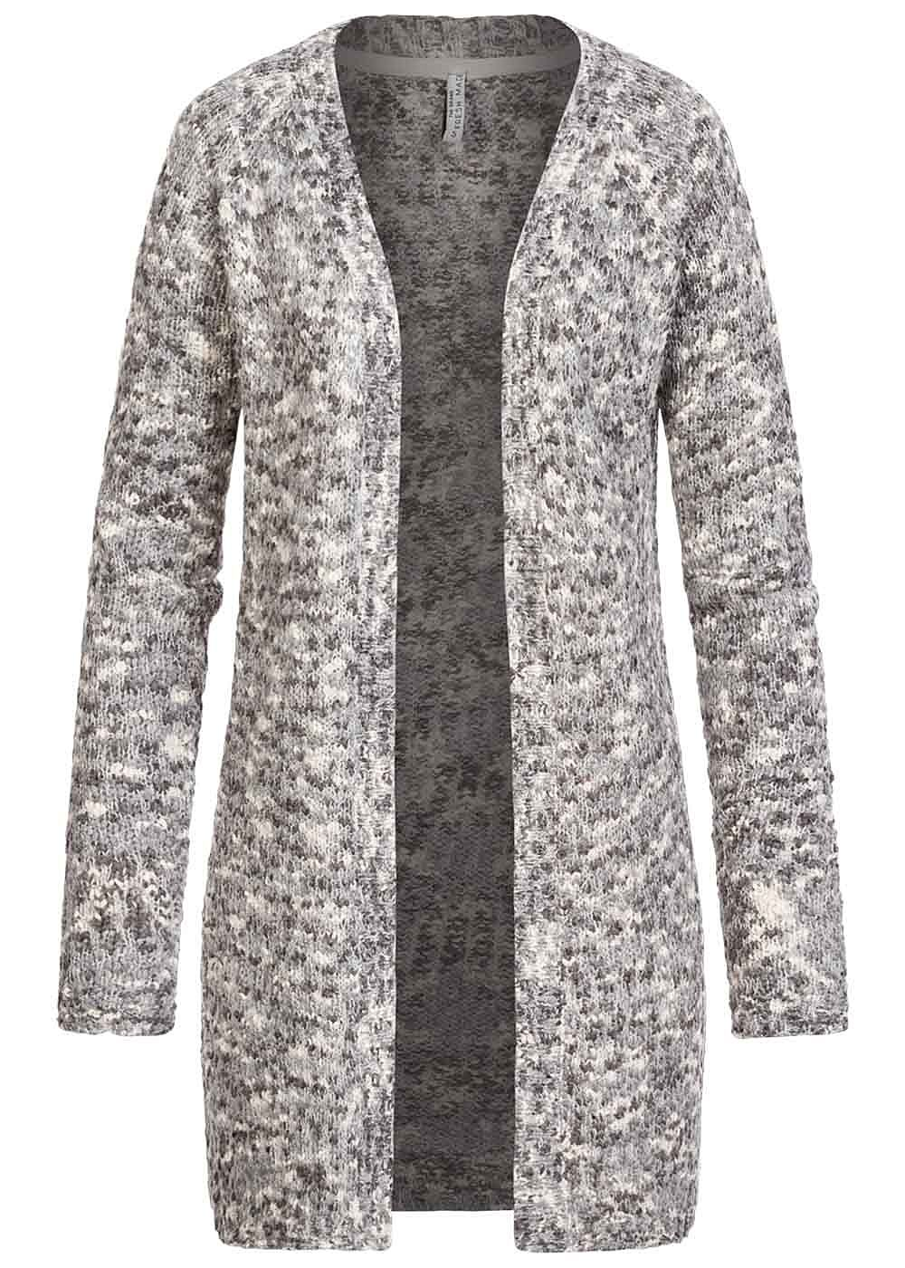 Fresh Made Damen 2-Tone Raglan Cardigan offener Schnitt dawn dusty grau weiss - Art.-Nr.: 19115271