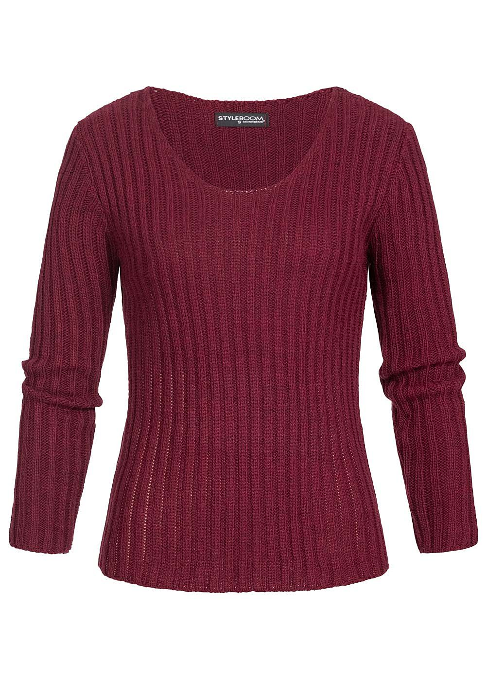 Styleboom Fashion Damen Ripped-V-Neck Strick Pullover bordeaux rot - Art.-Nr.: 19116910