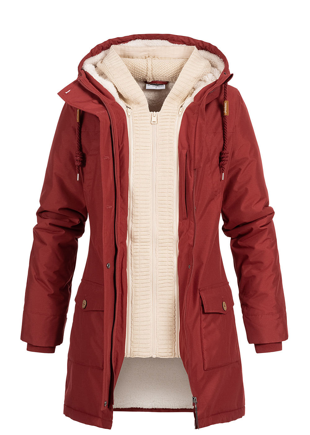 Seventyseven Lifestyle Damen Winter Jacke Kapuze 6-Pockets Strickeinsatz bordeaux rot - Art.-Nr.: 19118021