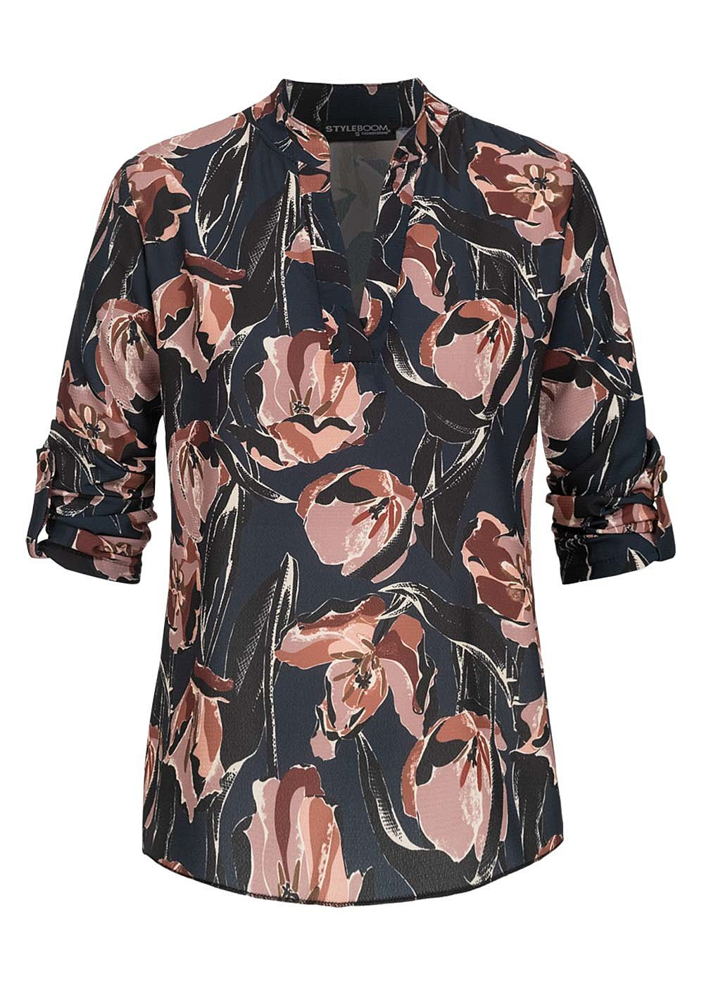 Styleboom Fashion Damen Turn-Up Bluse V-Neck Blumen Print schwarz blau - Art.-Nr.: 19127023