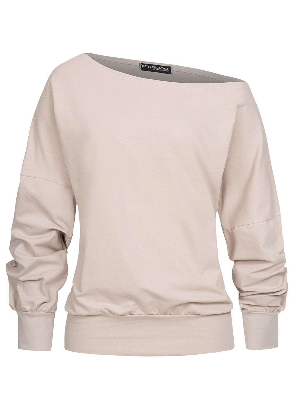 Styleboom Fashion Damen One-Shoulder Fledermausarm Pullover beige - Art.-Nr.: 20016093-XXL-BE