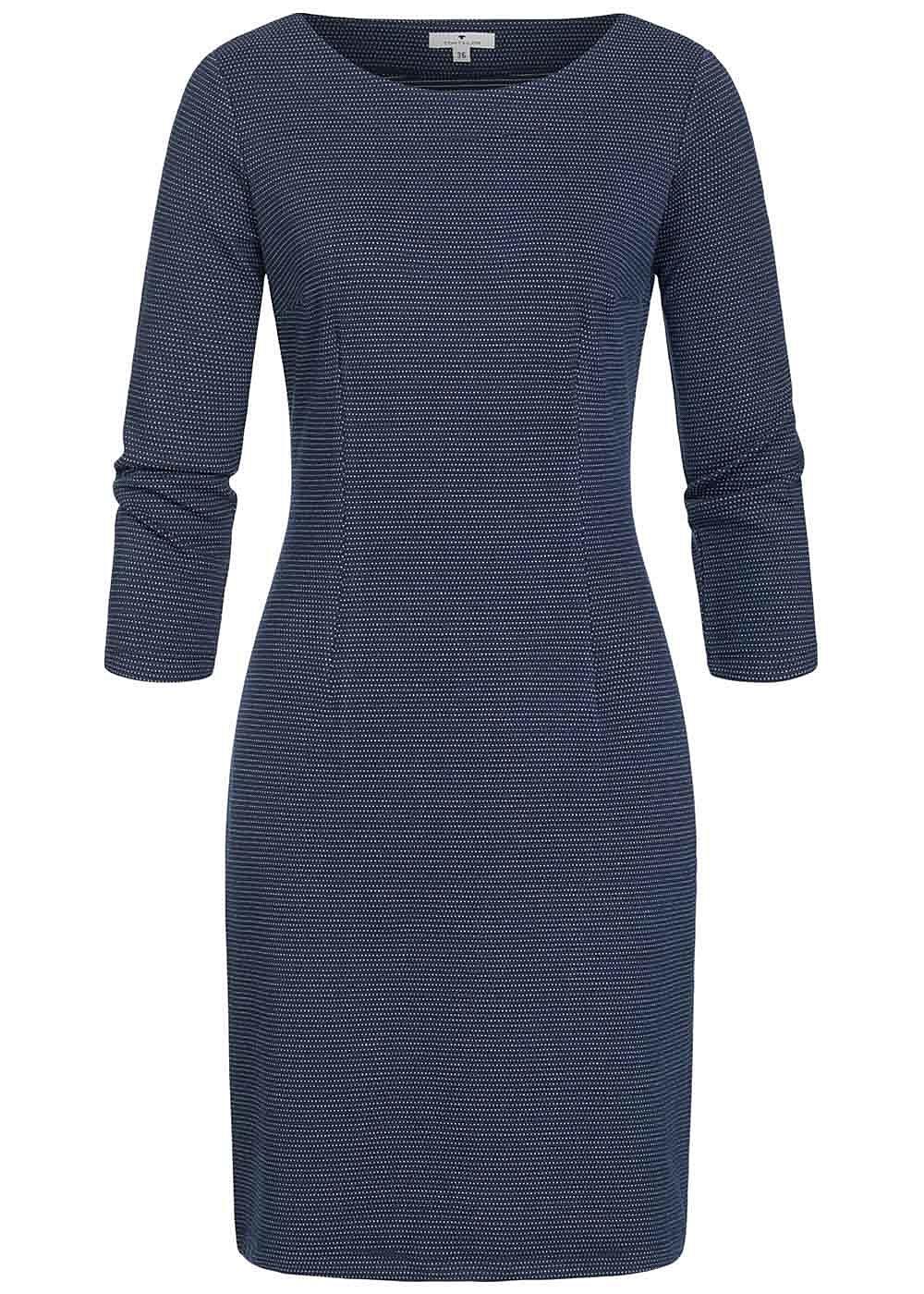 TOM TAILOR Damen 3/4 Arm Mini Kleid Punkte Muster navy ...