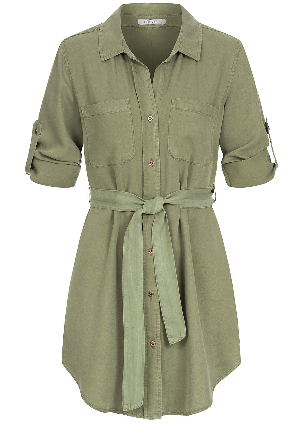 Hailys Damen 3/4 Arm Turn-Up Long Bluse 2-Pockets inkl. Bindegürtel khaki grün - Art.-Nr.: 20062899