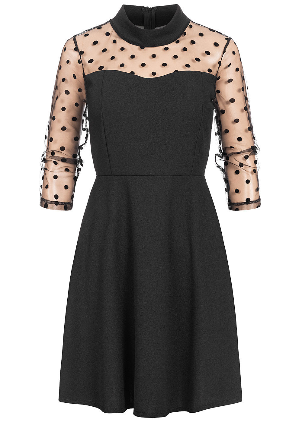 Styleboom Fashion Damen 3/4 Arm High-Neck Mini Kleid Mesh Punkte schwarz - Art.-Nr.: 20026239