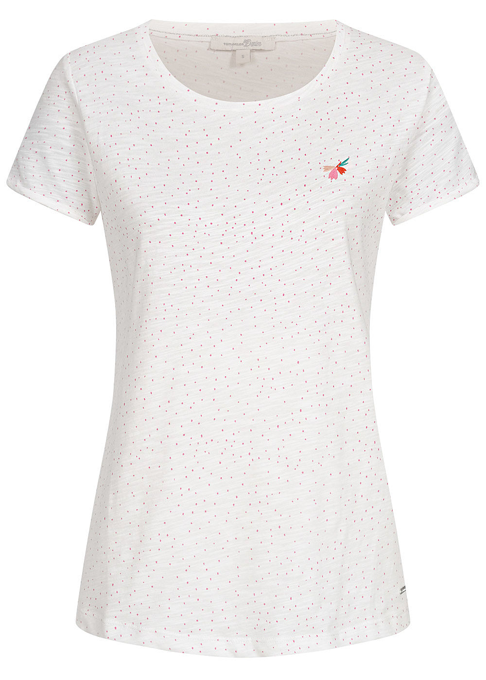Tom Tailor Damen T-Shirt Dots Punkte Print weiss rosa - Art.-Nr.: 20030893