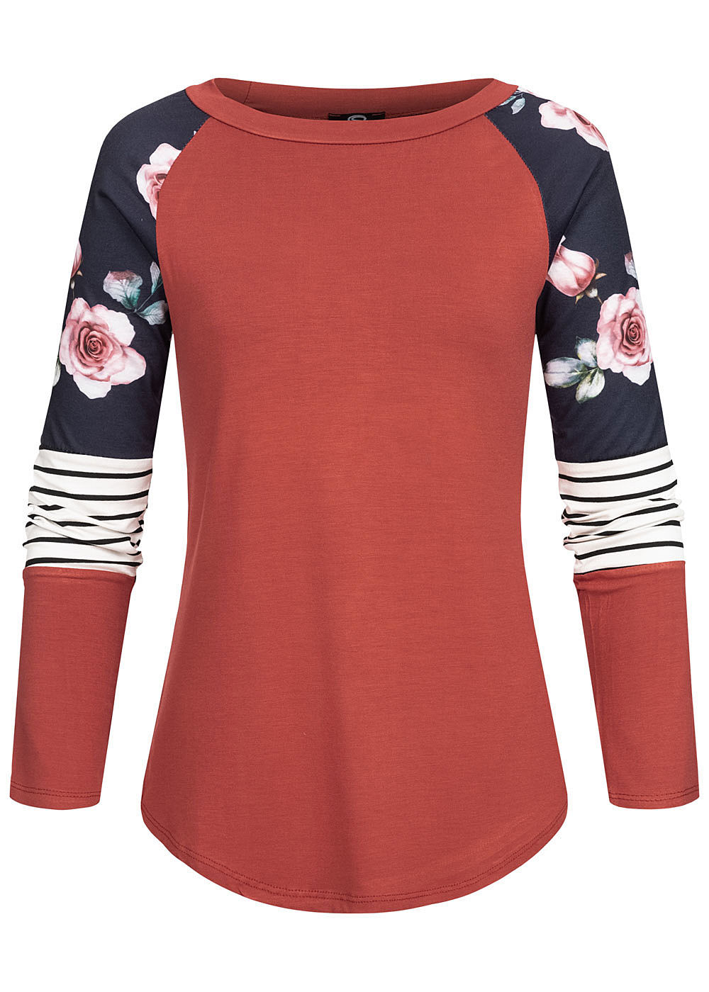 Styleboom Fashion Damen Colorblock Longsleeve Streifen & Blumen Print indian rot - Art.-Nr.: 20036296