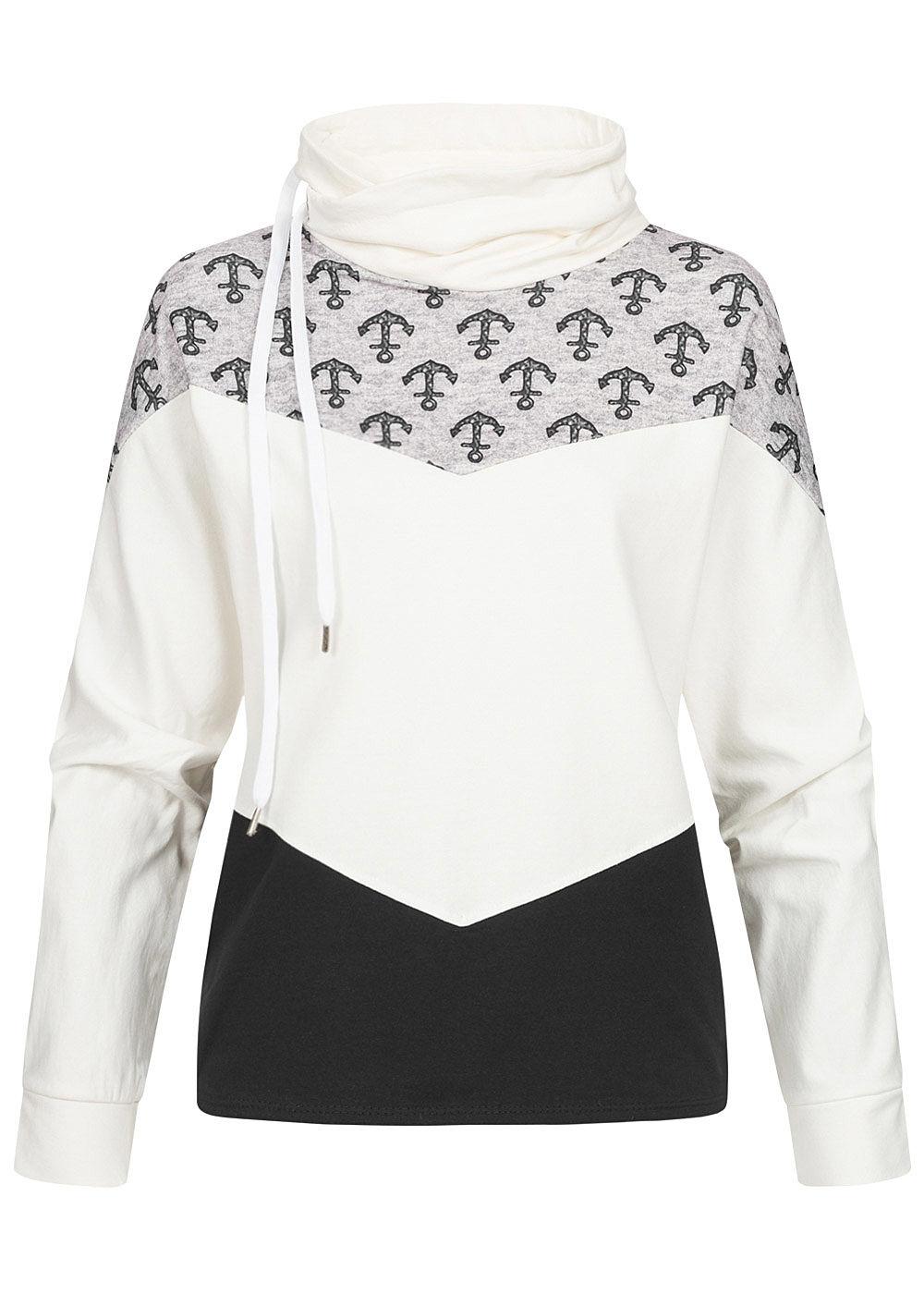 Styleboom Fashion Damen Colorblock Hoodie Arrow Muster