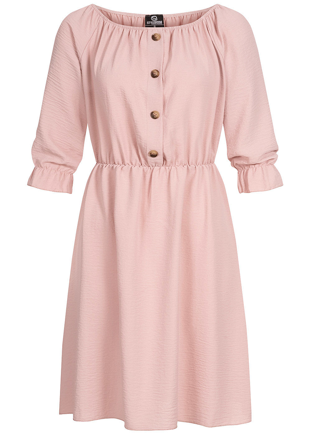 Styleboom Fashion Damen Mini Kleid Deko Knopfleiste rosa - Art.-Nr.: 20036351