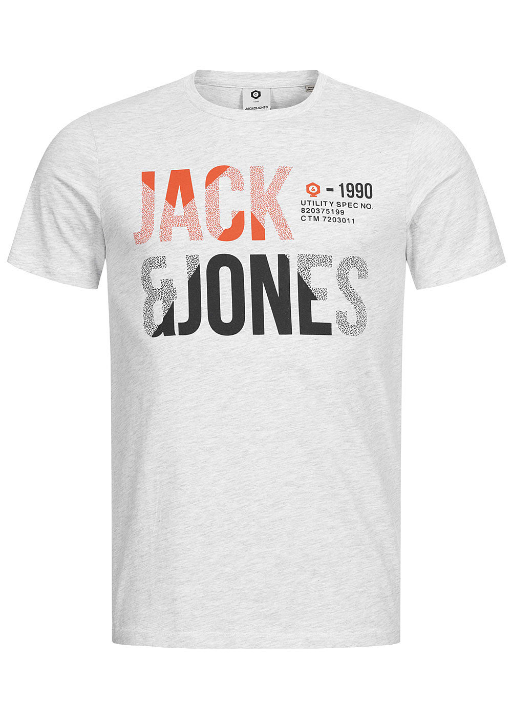 Jack and Jones Herren T-Shirt Logo Print Slim Fit weiss grau melange - Art.-Nr.: 20041593