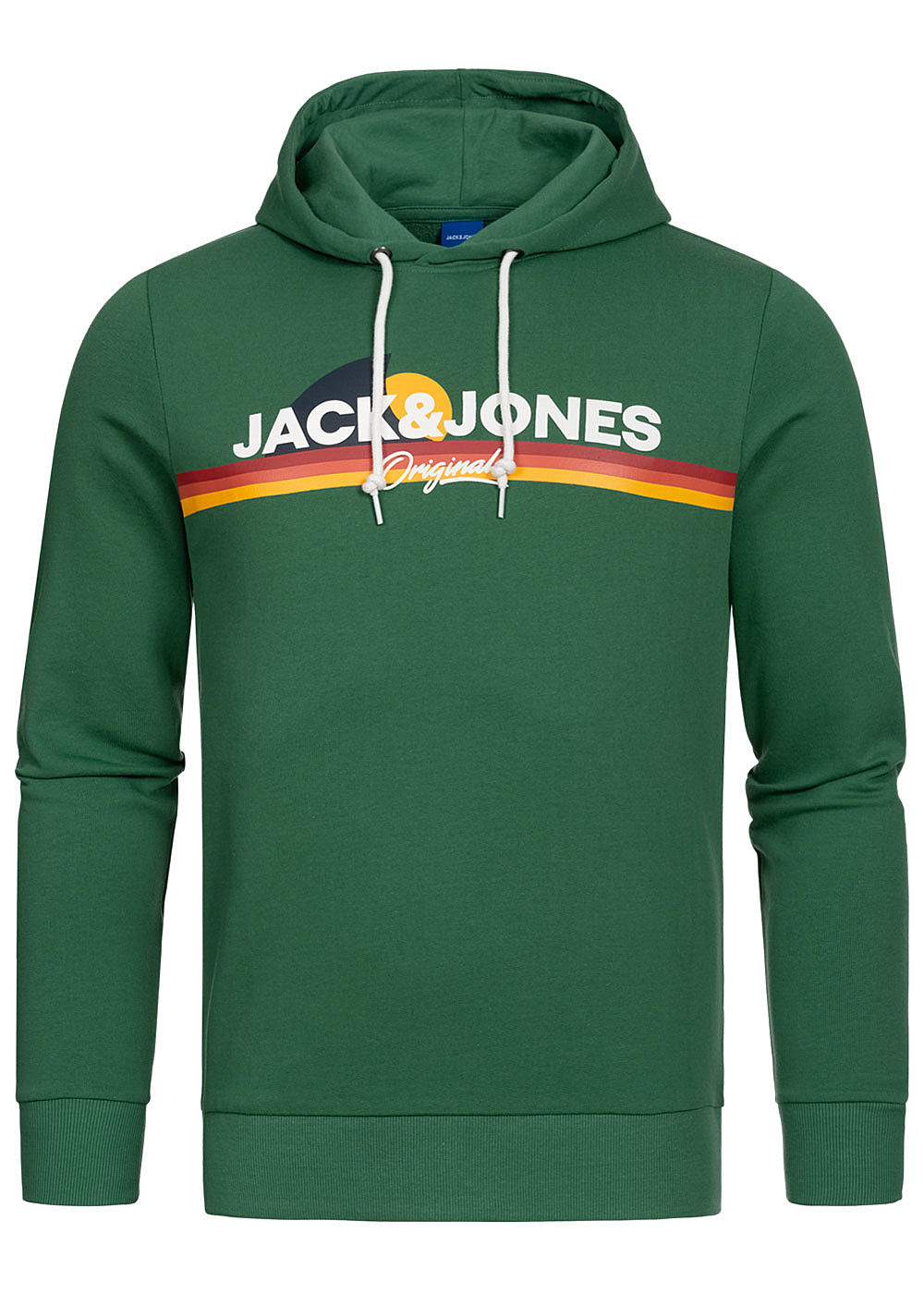 Jack and Jones Herren Hoodie Kapuze Logo Print Streifen fir grün - Art.-Nr.: 20041638-S-GN