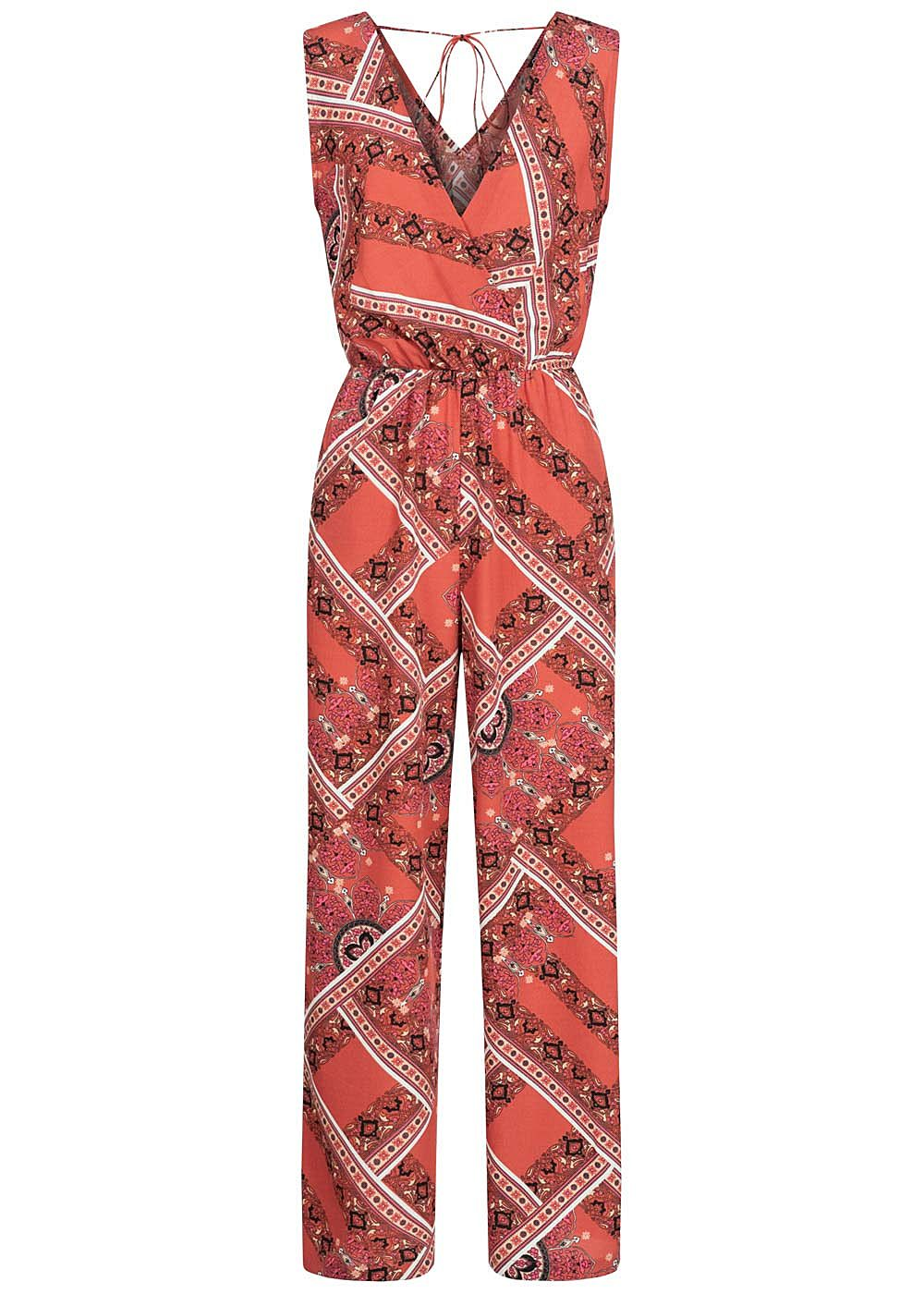 ONLY Damen V-Neck Jumpsuit weiter Schnitt Wickeloptik Aztek Print hot sauce rot - Art.-Nr.: 20041923