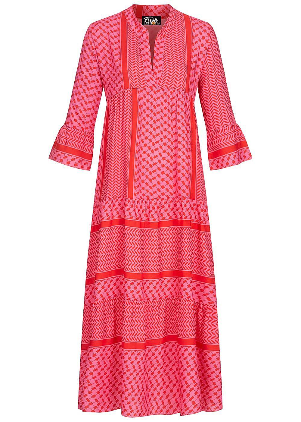 Fresh Lemons Damen V-Neck Maxi Puffer Kleid Allover Print pink
