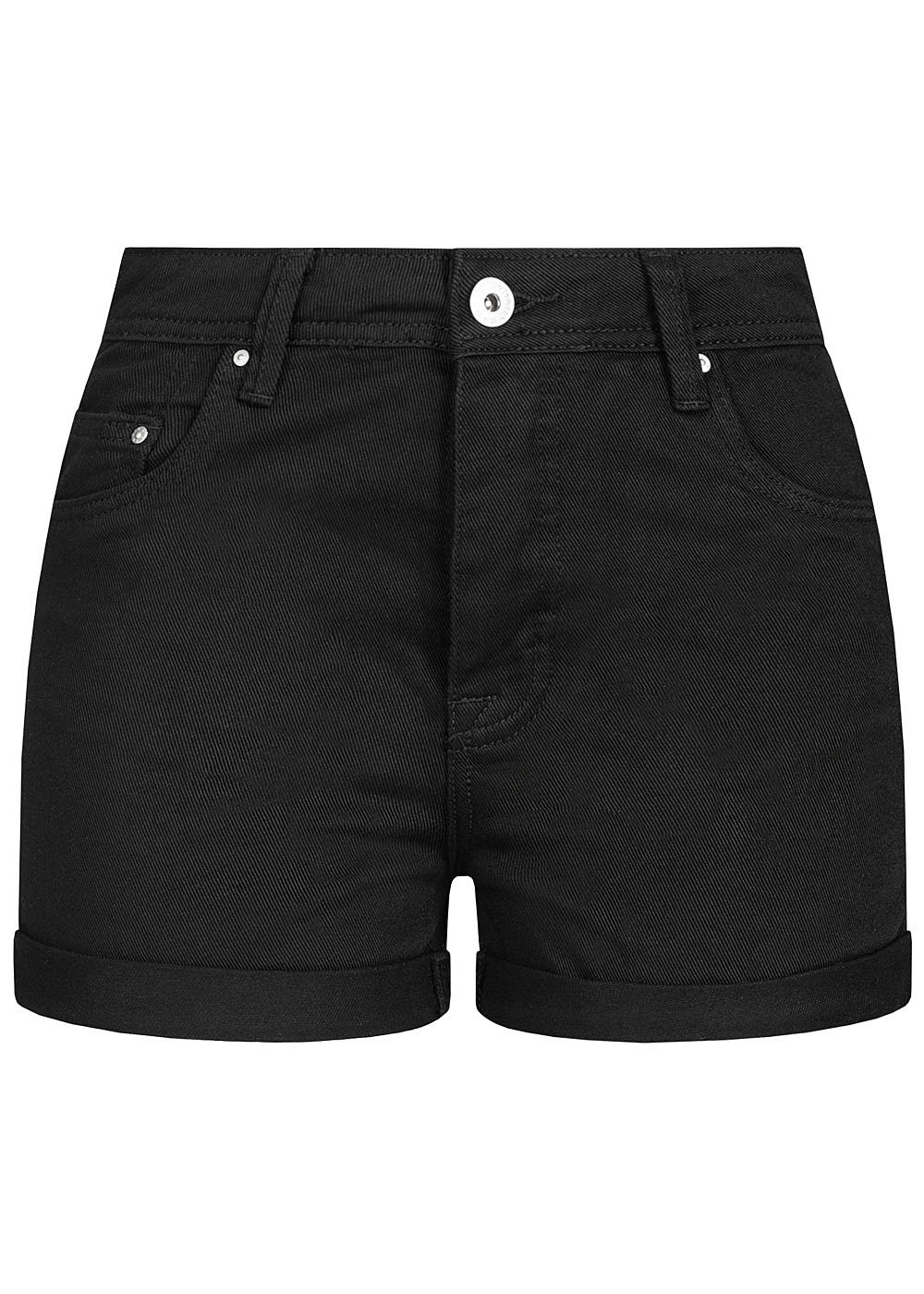 Hailys Damen High Waist Shorts 5-Pockets schwarz - Art.-Nr.: 20052114