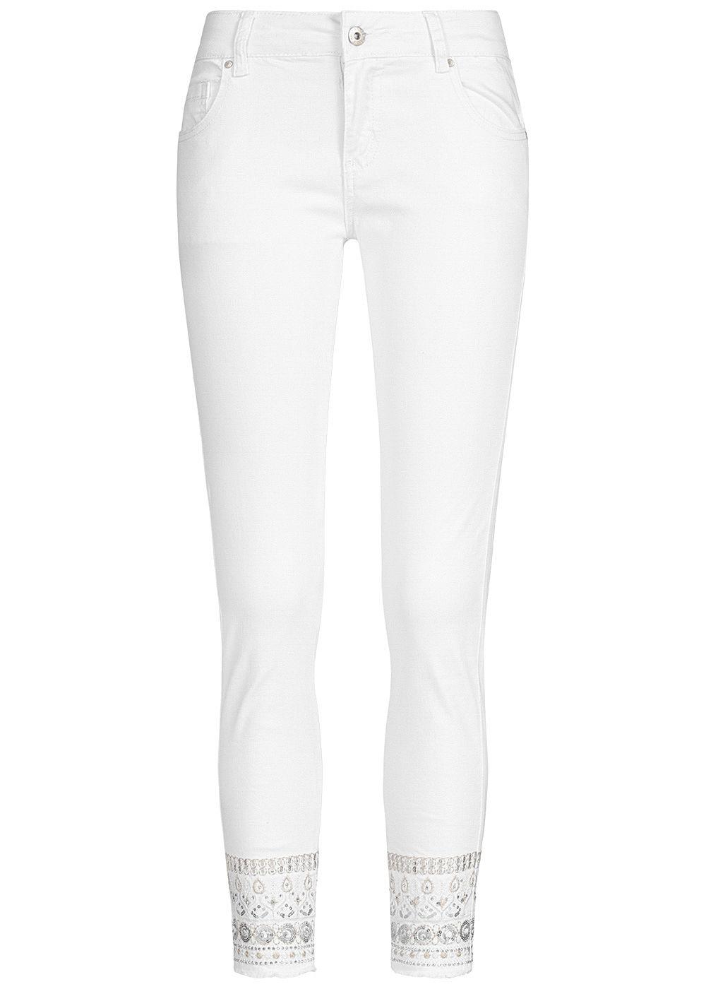 Hailys Damen Ankle Jeans Hose Mid Waist 5 Pockets Fransen