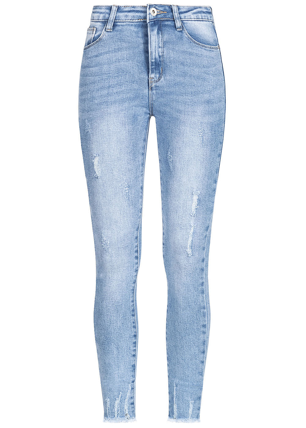 Hailys Damen Ankle Jeans Hose High Waist 5-Pockets Fransen Destroy Look denim blau - Art.-Nr.: 20052119