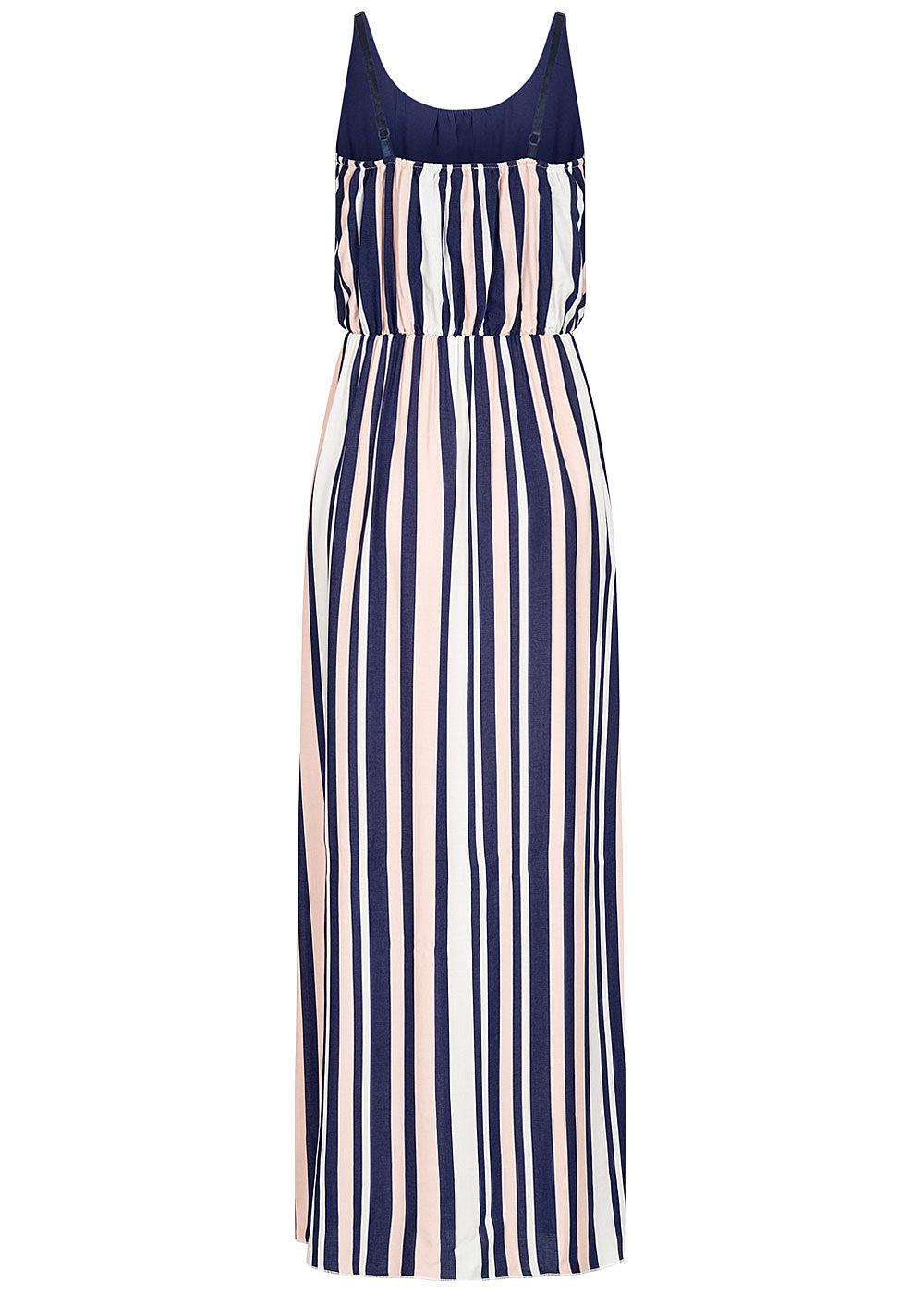 Hailys Damen Maxi Kleid Streifen Muster Taillenzug navy ...