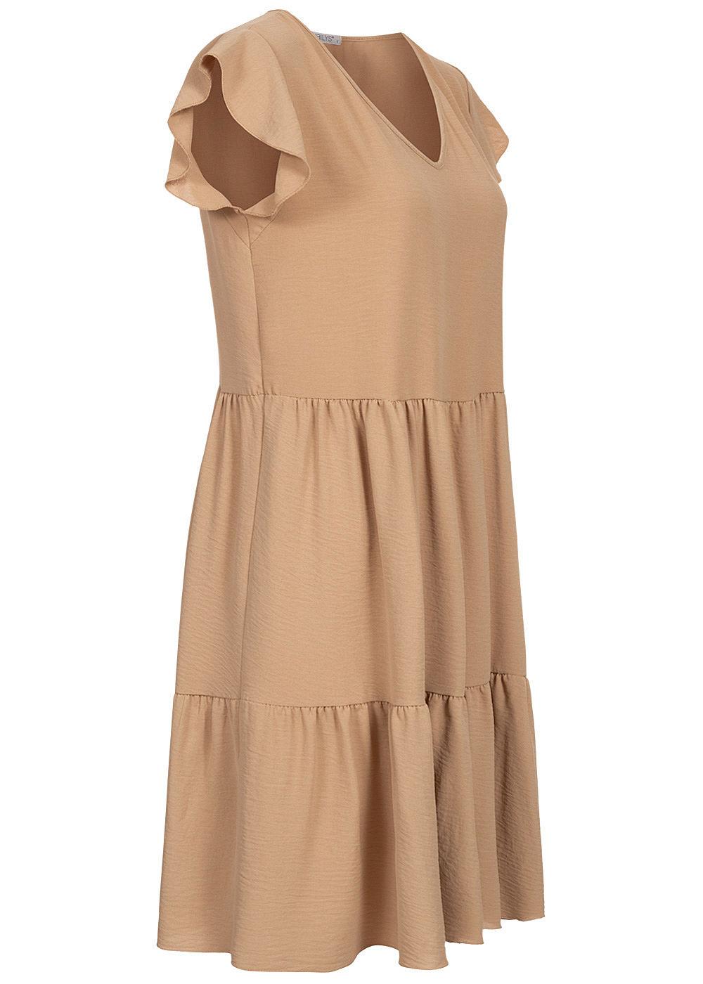 Hailys Damen V-Neck Puffer Kleid beige