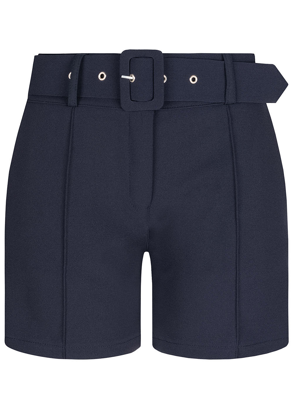 Fresh Lemons Damen High-Waist Shorts inkl. breiter Gürtel 2-Pockets navy blau - Art.-Nr.: 20055057