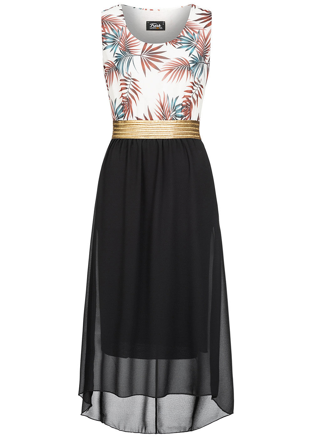 Fresh Lemons Damen 2-Tone Maxi Kleid Tropical Print schwarz weiss gold - Art.-Nr.: 20055080