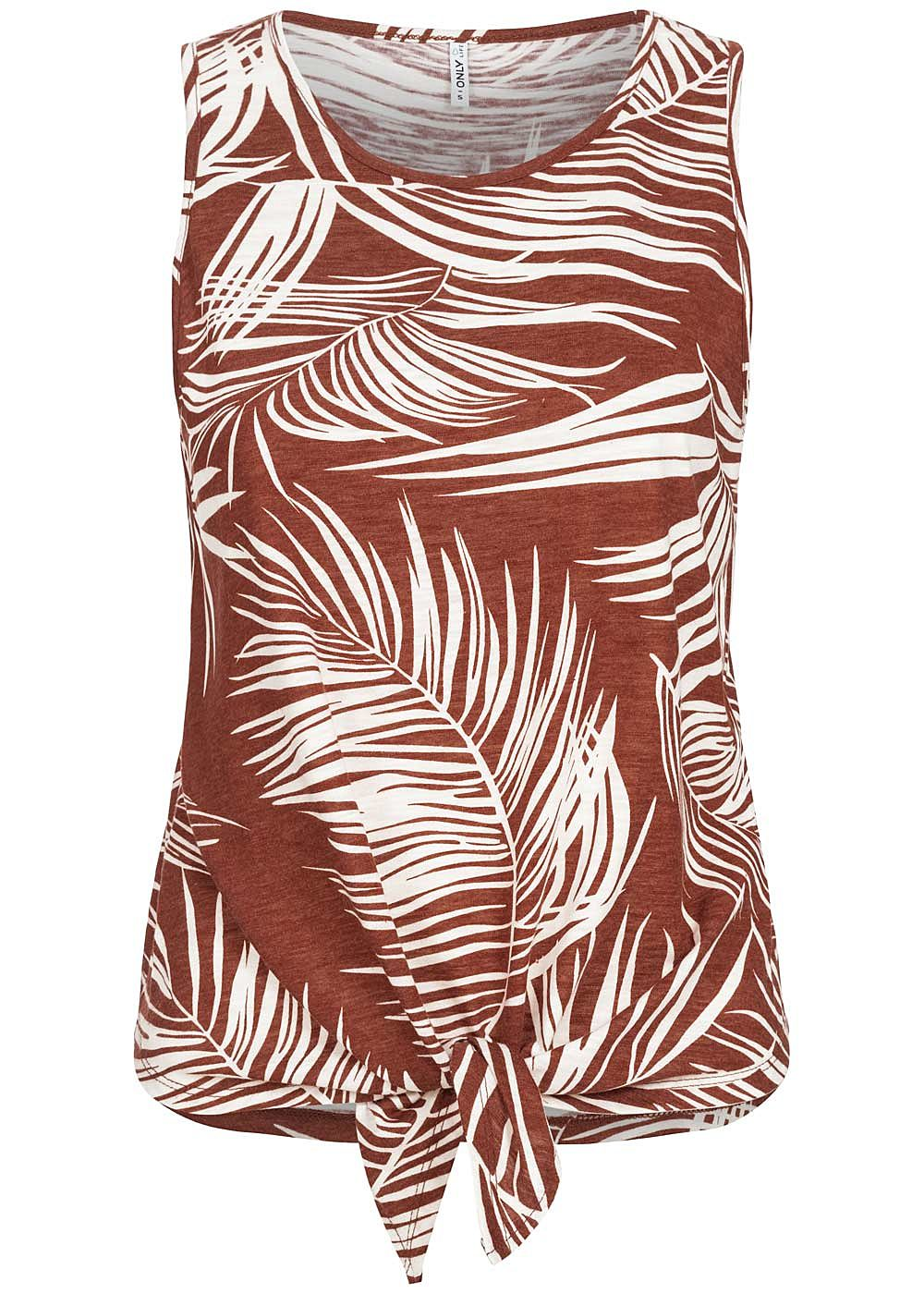 ONLY Damen Tank Top Bindedetail vorne Tropical Print burnt henna braun weiss - Art.-Nr.: 20062873