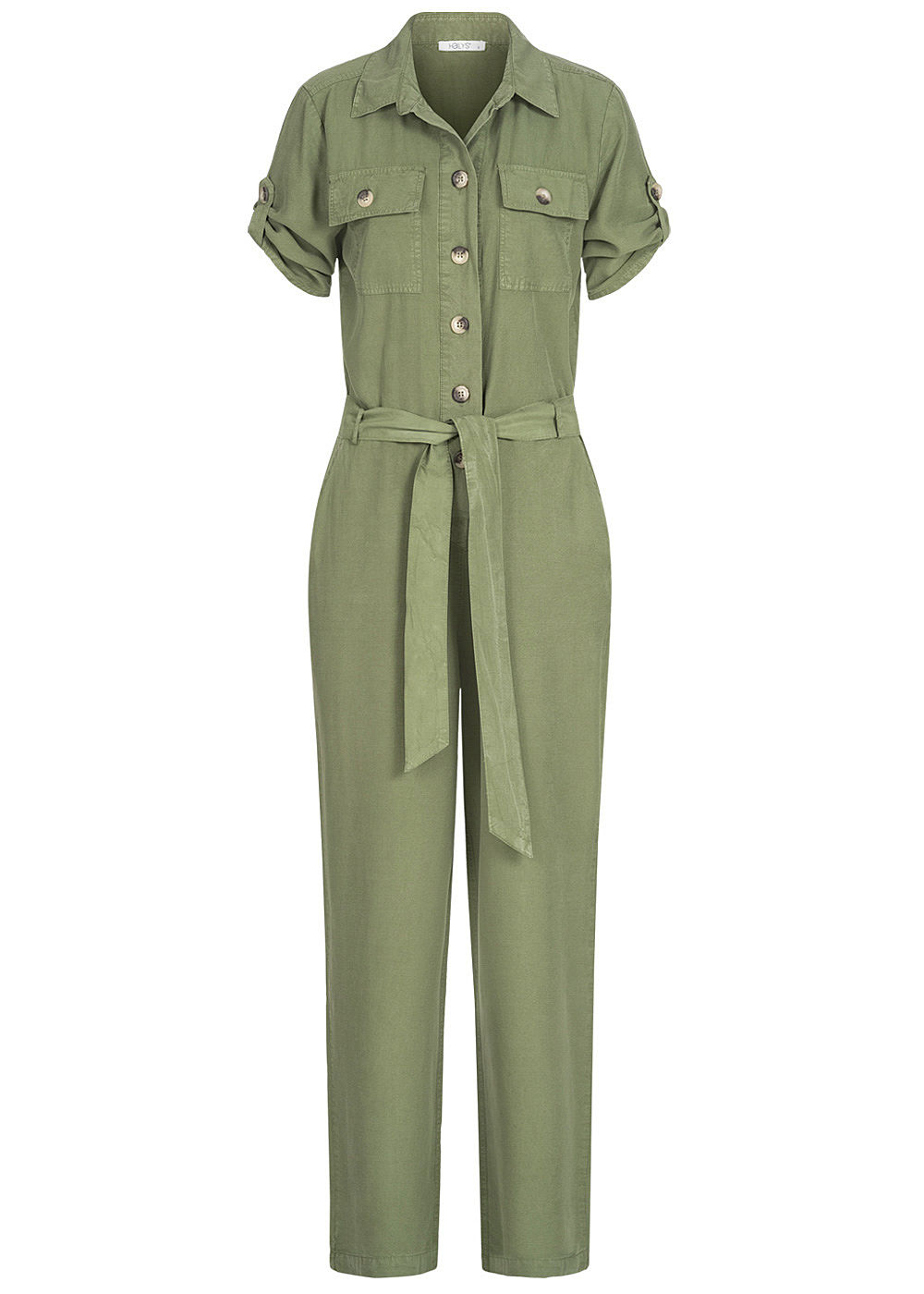 Hailys Damen Turn-up Jumpsuit  4-Pockets inkl. Bindegürtel Knopfleiste khaki grün - Art.-Nr.: 20062900