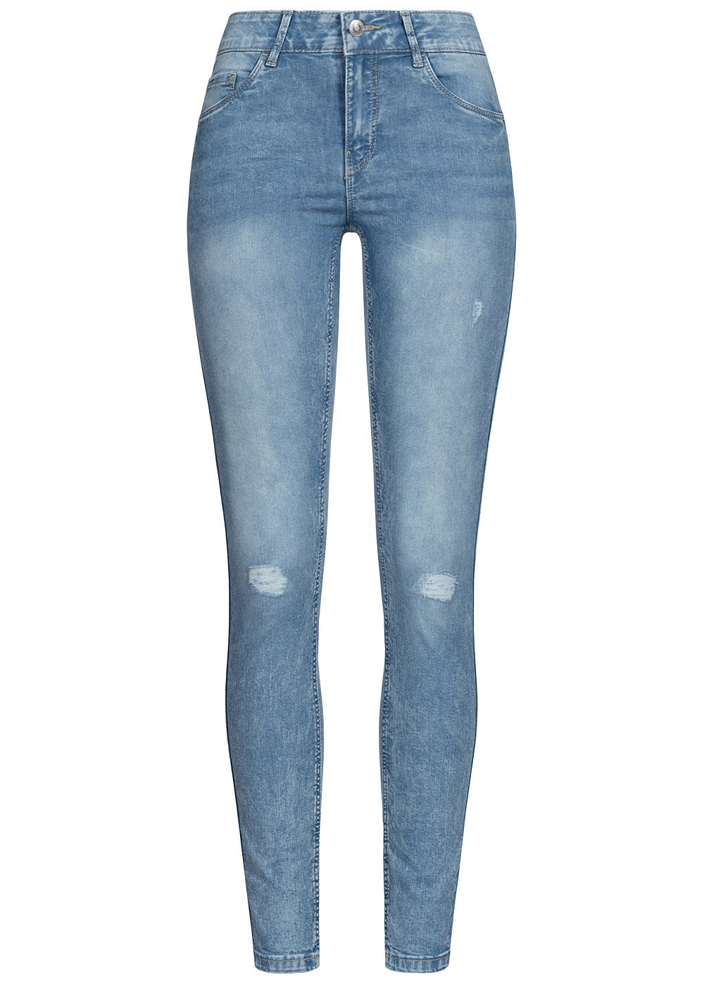Vero Moda Damen NOOS Slim Fit Shape-Up Jeans 5-Pockets Destroy Look hell blau denim - Art.-Nr.: 20063161
