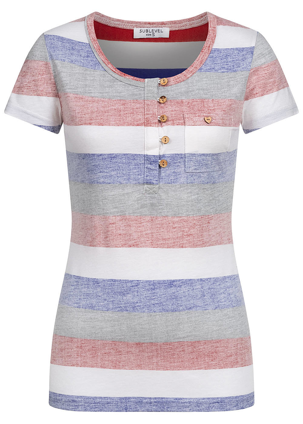 Sublevel Damen Multicolor T-Shirt Streifen Muster mit Knopfleiste cherry rot mc - Art.-Nr.: 20063263