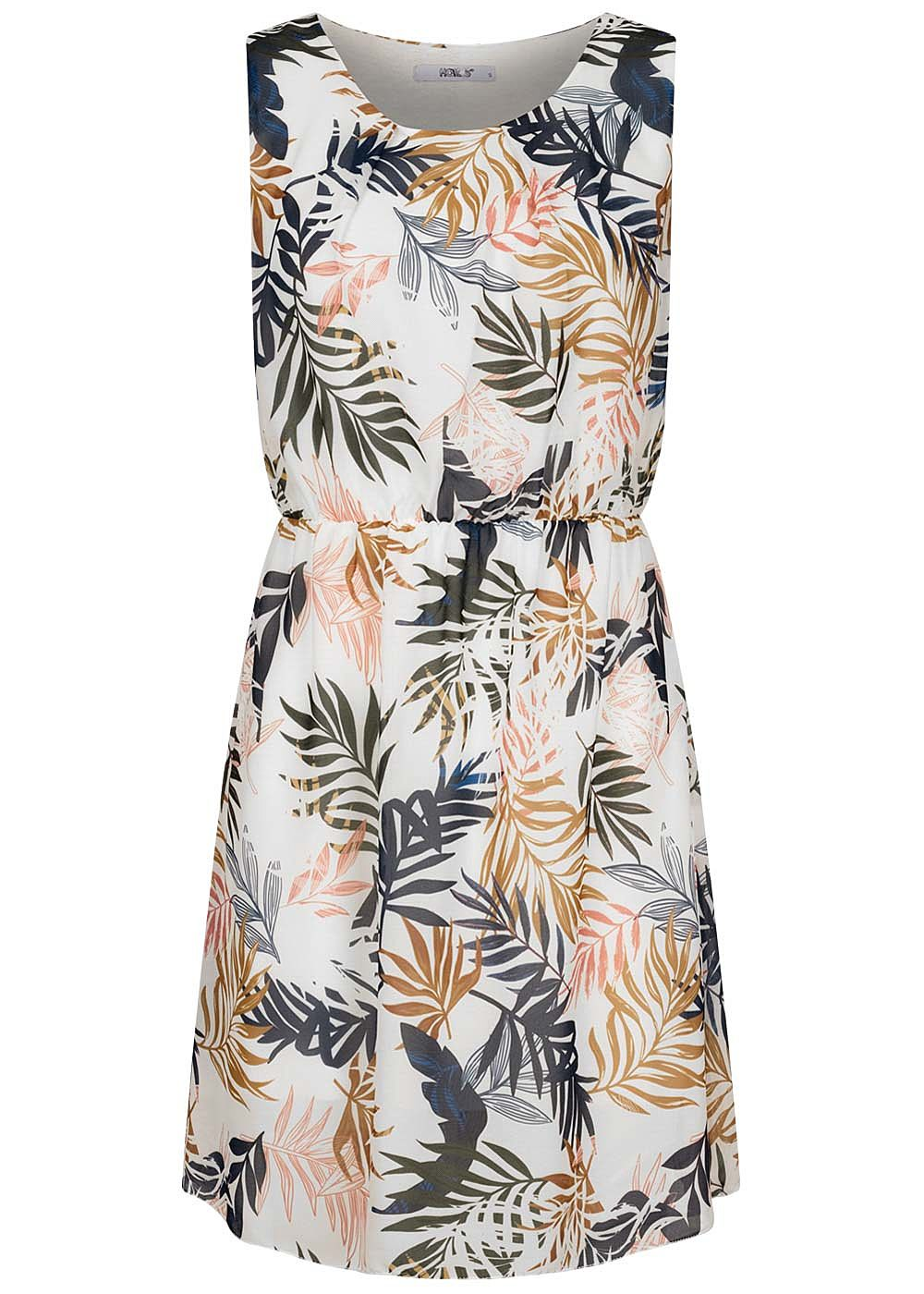 Hailys Damen Mini Kleid Taillengummibund 2-lagig Tropical Print off weiss blau - Art.-Nr.: 20073405