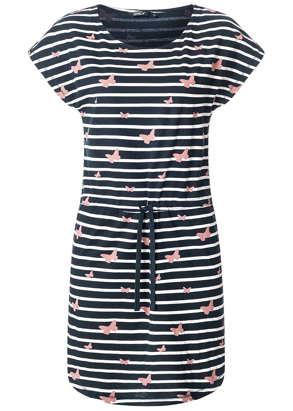 ONLY Damen Kleid Taillenzug Streifen Schmetterling Print ...