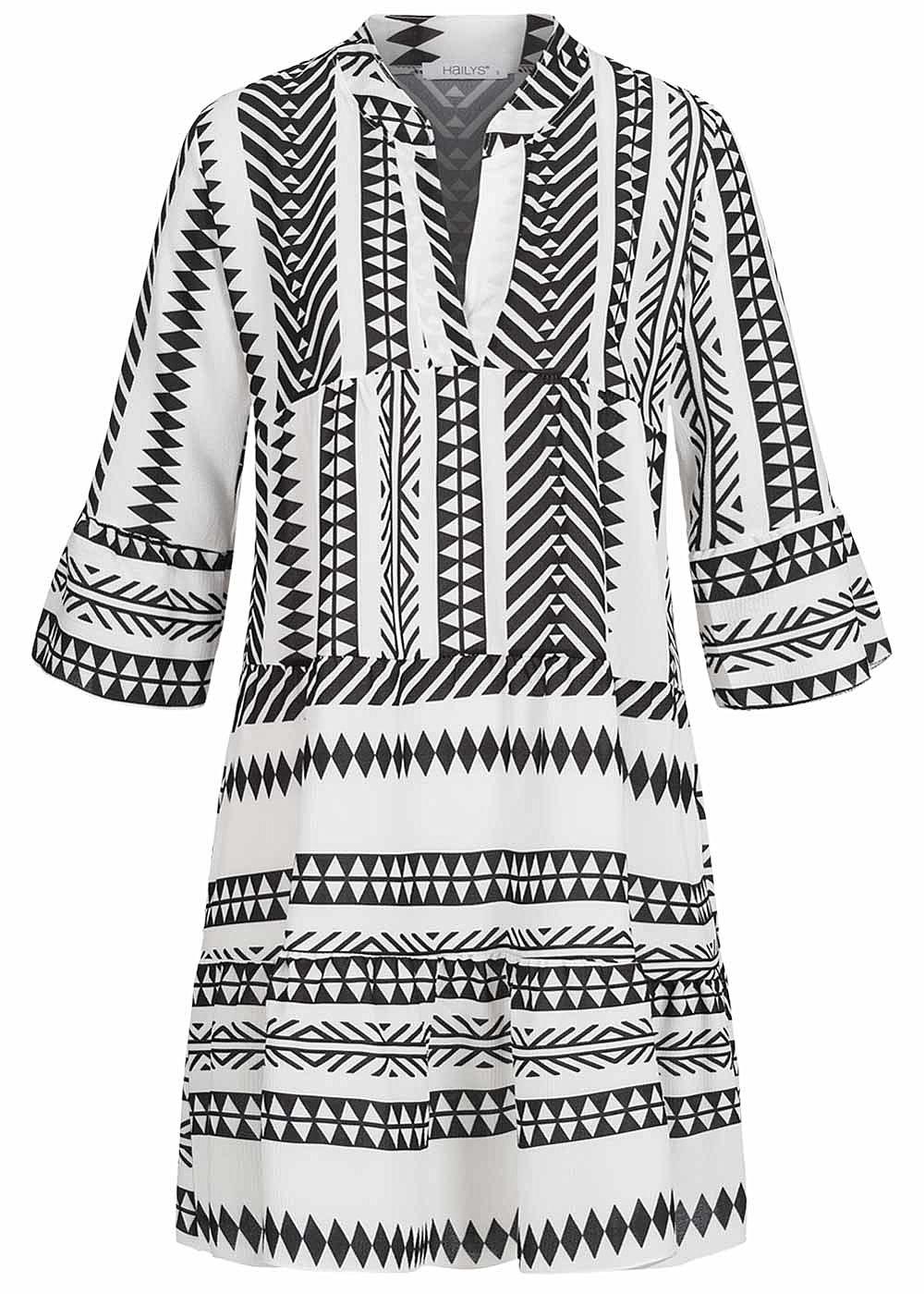 Hailys Damen 20/20-Arm V-Neck Tunika Kleid Azteken Print Volantärmel