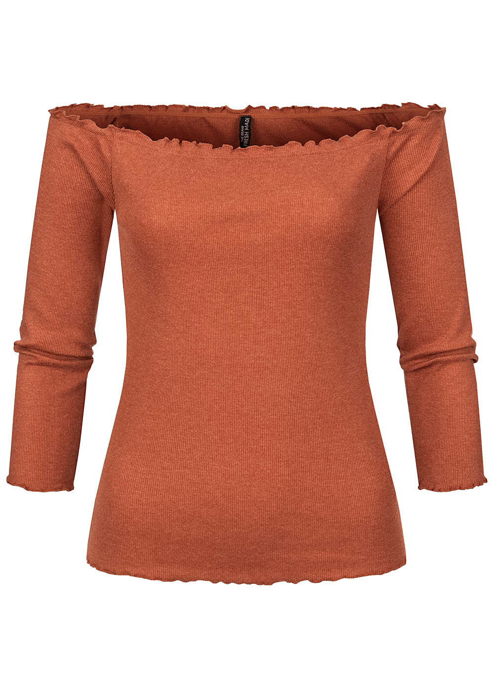 Fresh Made Damen 3/4 Arm Fine Rib Off-Shoulder Longsleeve mit Frilldetails rusty orange - Art.-Nr.: 20094165-XL-OR