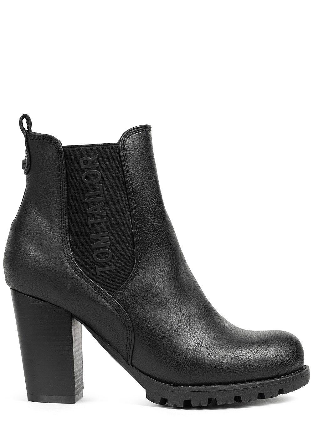 Tom Tailor Damen Schuh Boots Stiefelette Absatz 8,5cm