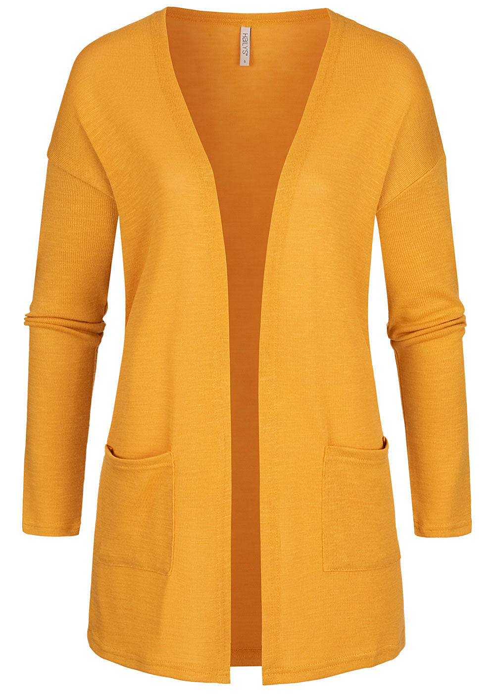 Hailys Damen Basic Cardigan 2-Pockets offener Schnitt golden gelb - Art.-Nr.: 20083861-M-YE