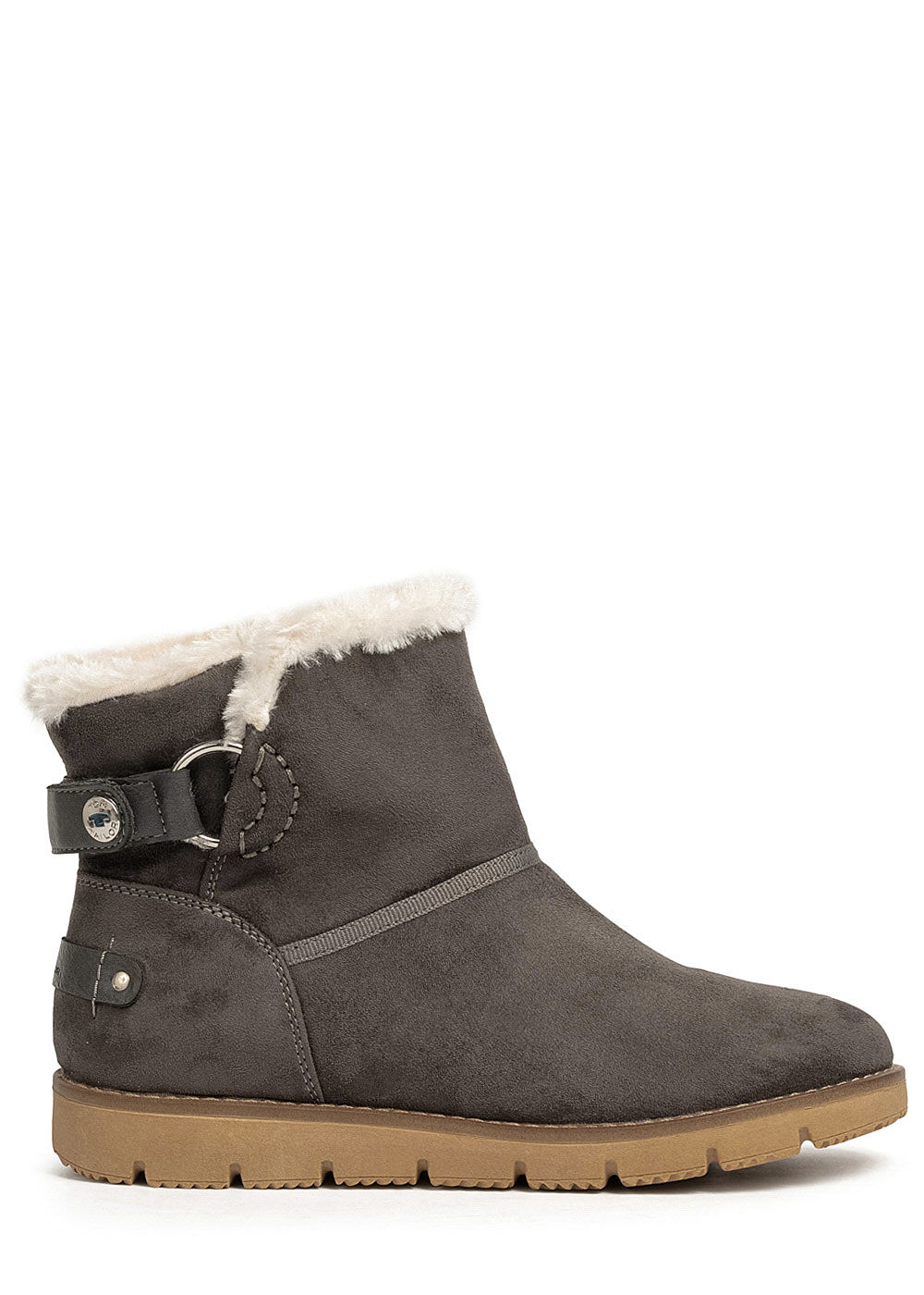 Tom Tailor Damen Schuh Winter Boots Stiefelette Velour-Optik coal grau - Art.-Nr.: 20083867-42-DG
