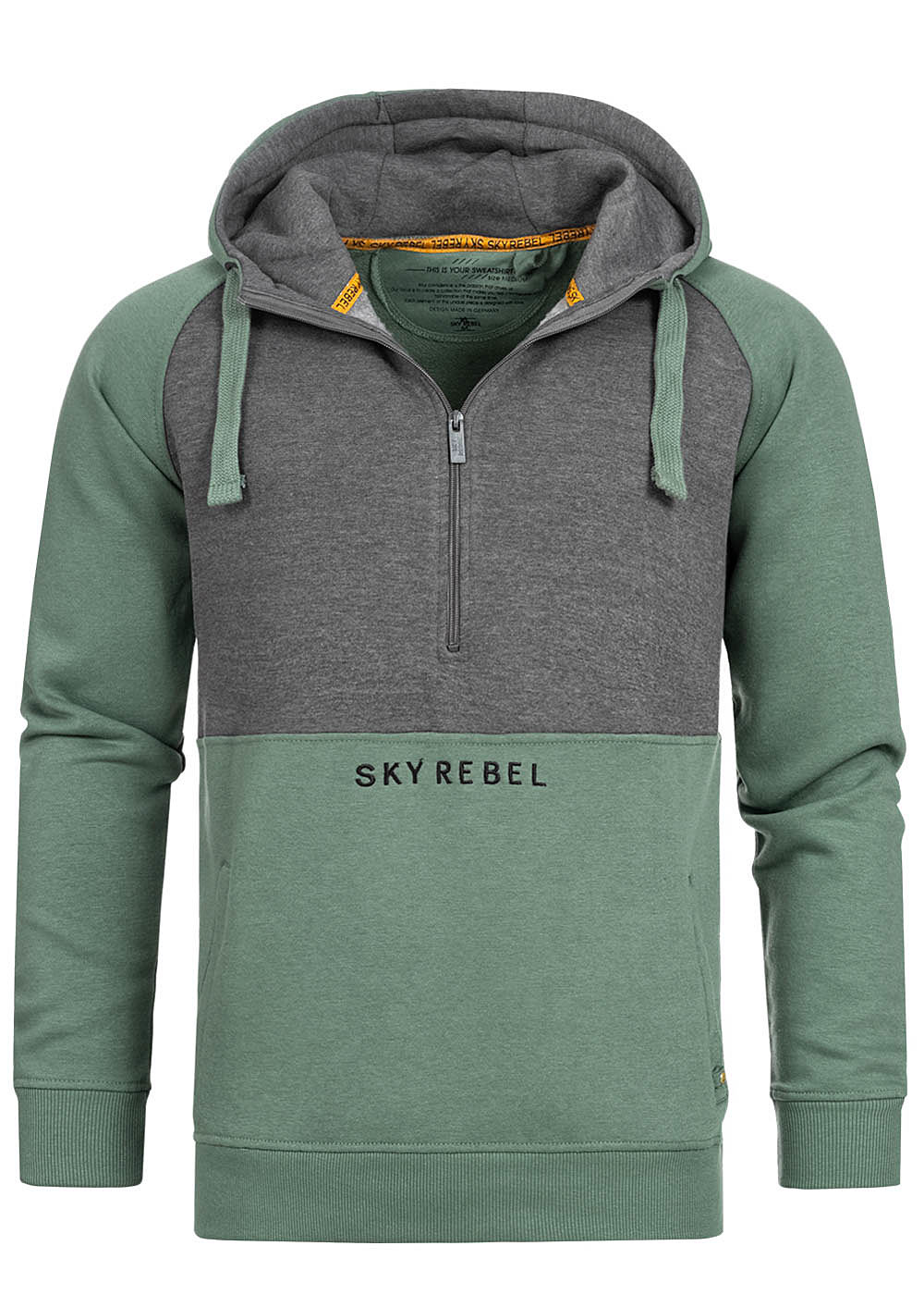 Eight2Nine Herren 2-Tone Half-Zip Hoodie Kapuze Logo by Sky Rebel forest grün grau - Art.-Nr.: 20084038