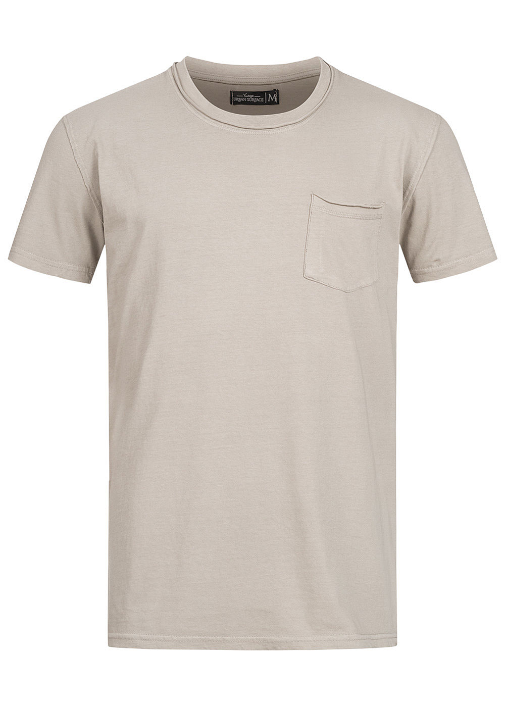 Urban Surface Herren T-Shirt offene Nähte Brusttasche string beige - Art.-Nr.: 20084046