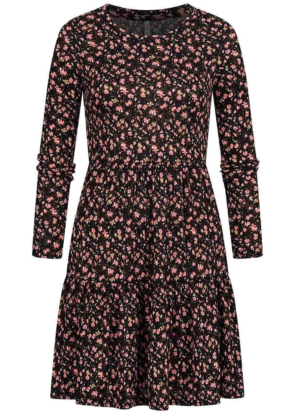 Hailys Damen Struktur Mini Kleid mit Blumen Muster schwarz ...