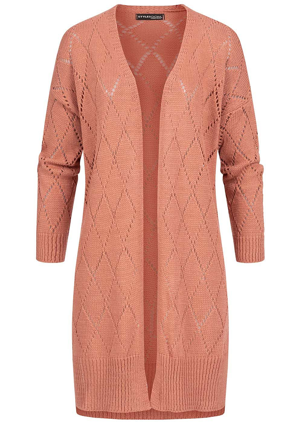 Styleboom Fashion Damen Longform Strickcardigan Rauten Muster wood rosa - Art.-Nr.: 20086291