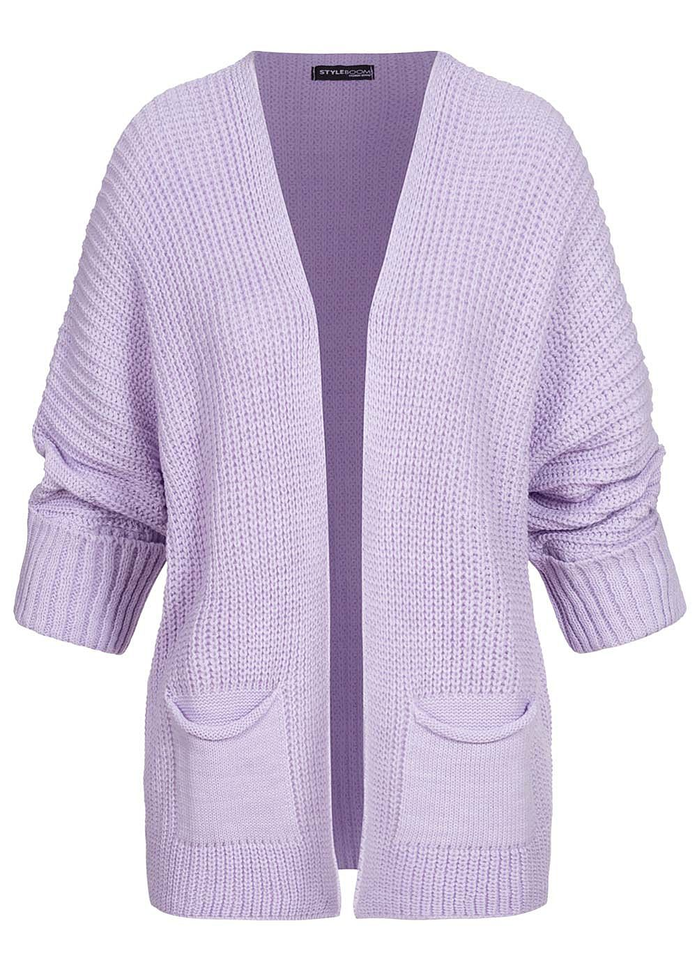 Styleboom Fashion Damen Oversized Strickcardigan 2-Pockets lila - Art.-Nr.: 20086308
