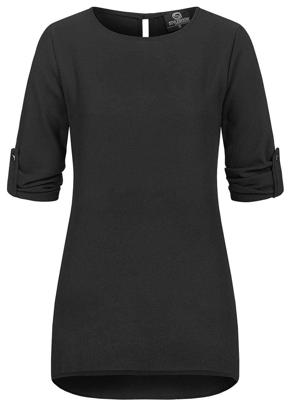 Styleboom Fashion Damen Turn-up Krepp Longform Bluse Vokuhila schwarz - Art.-Nr.: 20086338