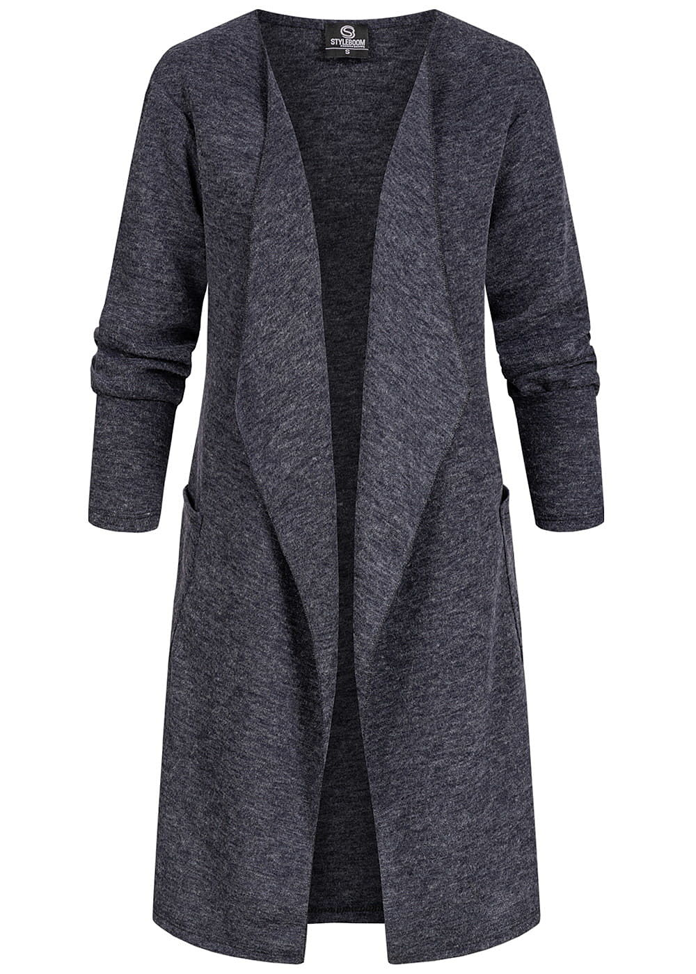 Styleboom Fashion Damen Drapped Longform Cardigan 2-Pockets navy blau - Art.-Nr.: 20086351