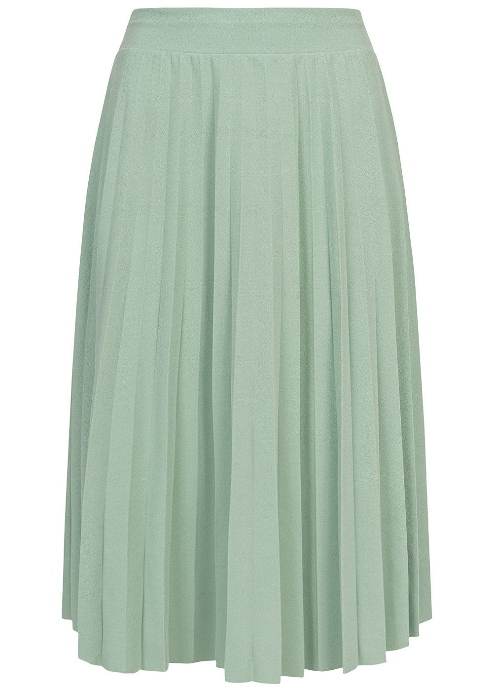 Styleboom Fashion Damen Plissee Midi Falten Rock unicolor jade grün - Art.-Nr.: 20086375