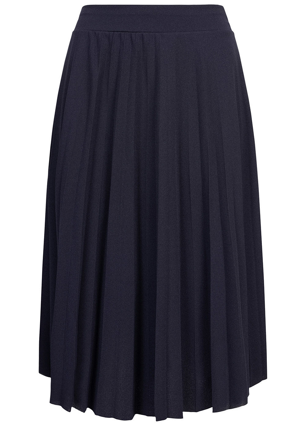 Styleboom Fashion Damen Plissee Midi Falten Rock unicolor navy blau - Art.-Nr.: 20086380