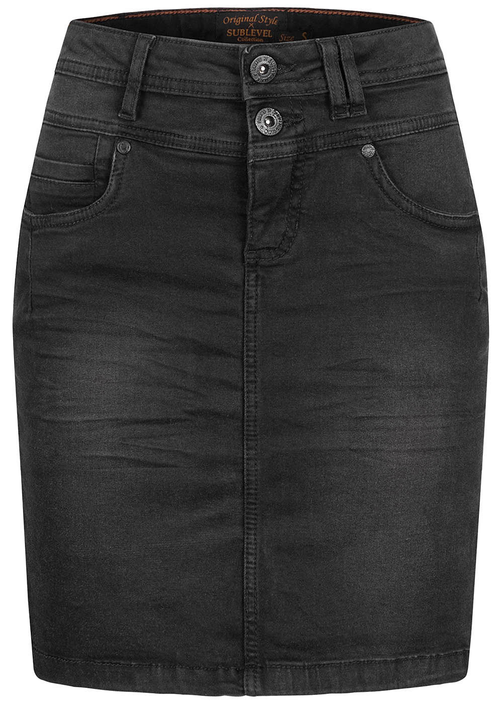 Sublevel Damen Mini Jeans Rock 5-Pockets 2er Knopfleiste schwarz denim - Art.-Nr.: 20094168