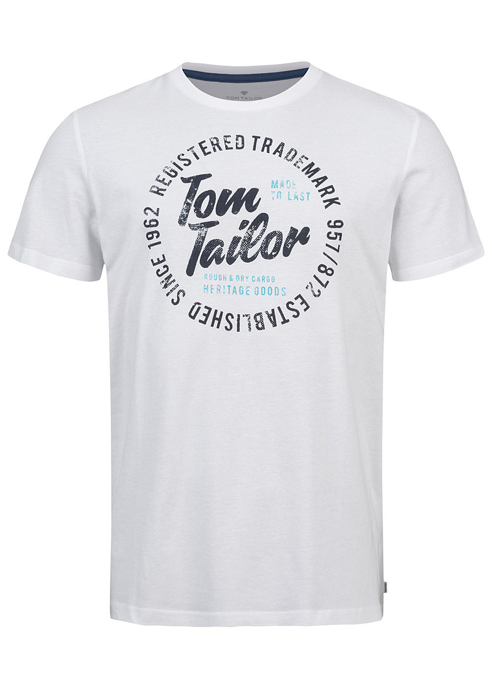 Tom Tailor Herren T-Shirt Logo Print Kursiv weiss - Art.-Nr.: 20094229