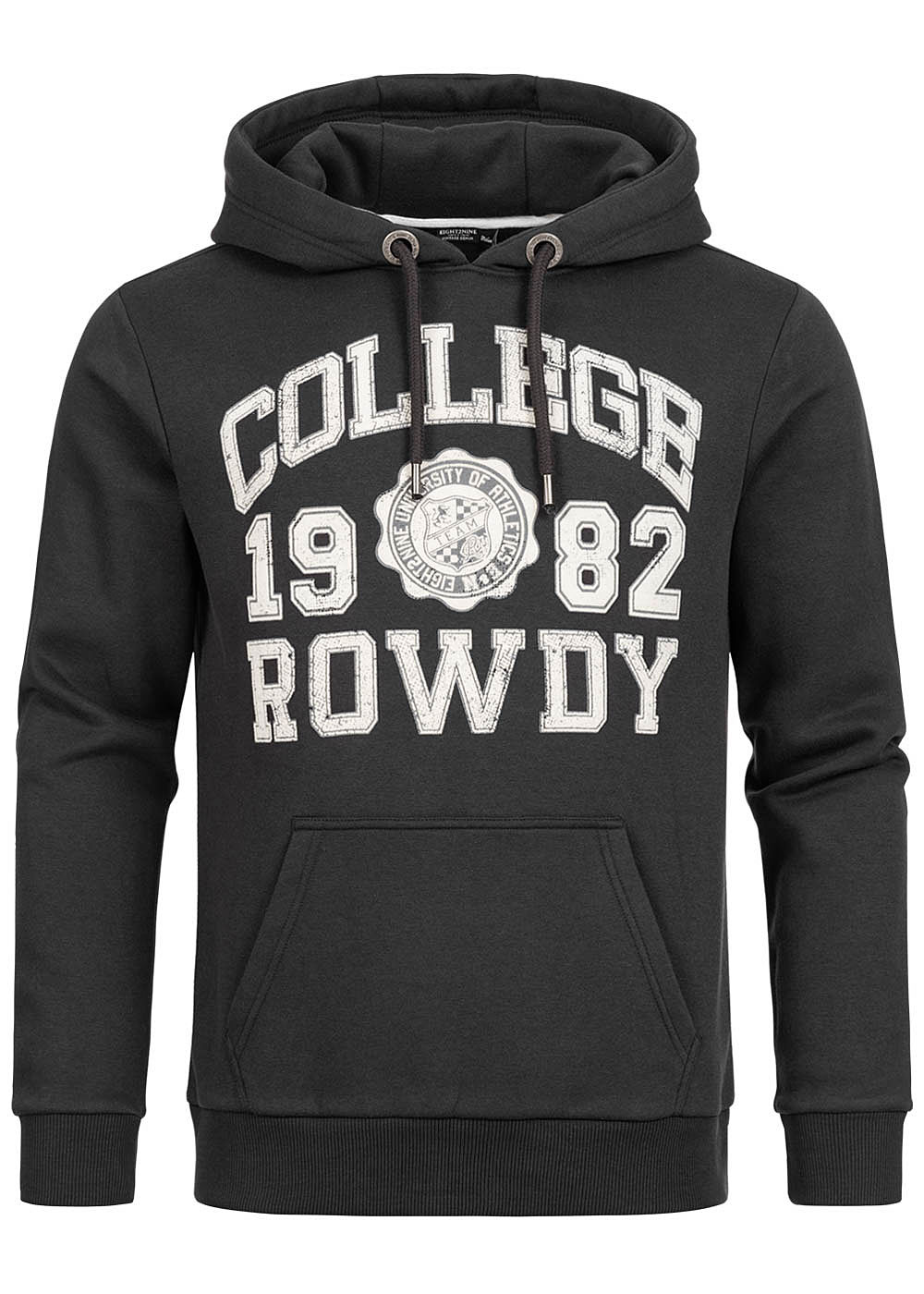 Eight2Nine Herren Sweat Hoodie Kapuze Kängurutasche College Rowdy Frontpatch schwarz weiss - Art.-Nr.: 20094272