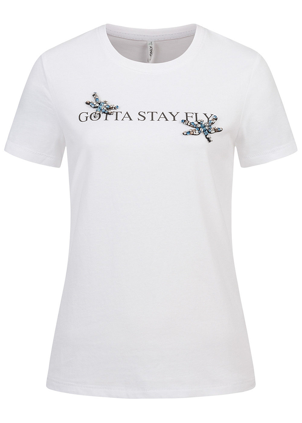 ONLY Damen T-Shirt Stay Fly Print mit Schmuckapplikationen bright weiss - Art.-Nr.: 20094372