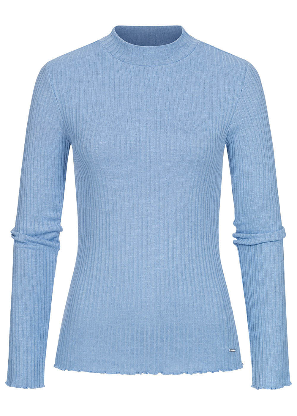 Tom Tailor Damen Ribbed Frill Longsleeve Pullover summer blau - Art.-Nr.: 20104624