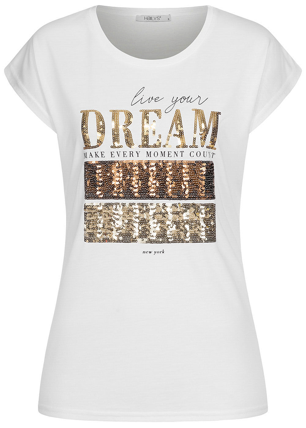 Hailys Damen T-Shirt Dream Paillettenfront weiss - Art.-Nr.: 20104696